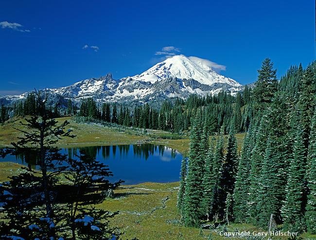 Mt. Rainier & Tipso Lk., Mt.Rainier National Park. WA