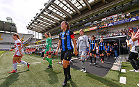 Ellen Martens (2) of Club Brugge and goalkeeper Femke Schamp (1) of Club Brugge pictured entering the pitch ahead of a female soccer game between Club Brugge Dames YLA and Standard Femina de Liege on the first matchday of the 2021 - 2022 season of Belgian Scooore Womens Super League , saturday 21 August 2021in Brugge , Belgium . PHOTO SPORTPIX   DAVID CATRY