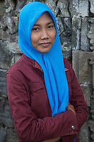 Borobudur, Java, Indonesia.  Young Woman from Surabaya Visiting the Temple.