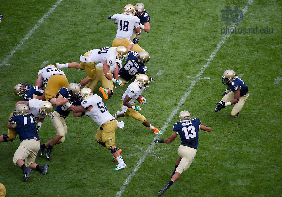 Sept. 1, 2012; Game action during the second half of the  2012 Emerald Isle Classic against Navy at Aviva Stadium in Dublin, Ireland. Photo by Barbara Johnston/University of Notre Dame