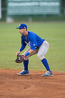 Burlington Royals second baseman Austin Bailey (7) on defense against the Bristol Pirates at Boyce Cox Field on July 10, 2015 in Bristol, Virginia.  The Pirates defeated the Royals 9-4. (Brian Westerholt/Four Seam Images)