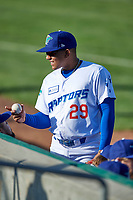 Miguel Tejada Jr. (29) of the Ogden Raptors before the game against the Grand Junction Rockies at Lindquist Field on June 5, 2021 in Ogden, Utah. The Raptors defeated the Rockies 18-1. (Stephen Smith/Four Seam Images)