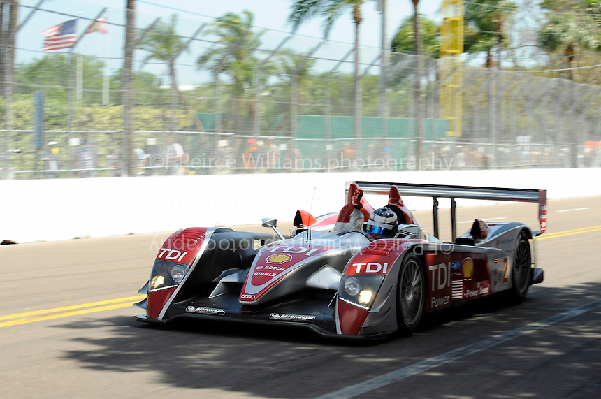 4-5 April 2008, St Petersburg, Florida, USA.Winner Lucas Luhr, Audi R10/TDI waves to the crowd after taking the checkered flag..©2008 F.Peirce Williams, USA .