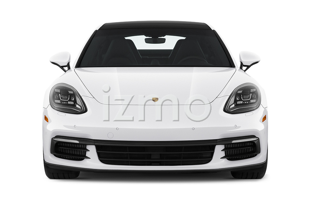 Car photography straight front view of a 2019 Porsche Panamera 4-E-Hybrid 5 Door Hatchback Front View