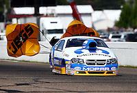 Aug. 17, 2013; Brainerd, MN, USA: NHRA pro stock driver Allen Johnson during qualifying for the Lucas Oil Nationals at Brainerd International Raceway. Mandatory Credit: Mark J. Rebilas-