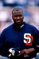 Tony Gwynn of the San Diego Padres participates in a Major League Baseball game at Dodger Stadium during the 1998 season in Los Angeles, California. (Larry Goren/Four Seam Images)