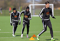 L-R Jefferson Montero, Modou Barrow and Federico Fernandez during the Swansea City FC training at Fairwood training ground in Wales, UK on Wednesday 06 April 2016