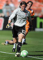 Sky Blue FC goalkeeper Jenni Branam (23) plans the placement of her kick.  Washington Freedom defeated Skyblue FC 2-1 at RFK Stadium, Saturday May 23, 2009.