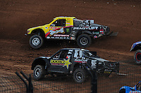 Mar. 20, 2011; Chandler, AZ, USA;  LOORRS pro two driver Rob Naughton (54) leads Rob MacCachren during round two at Firebird International Raceway. Mandatory Credit: Mark J. Rebilas-