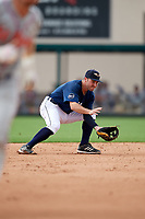 Lakeland Flying Tigers second baseman Will Maddox (3) fields a ground ball during a game against the St. Lucie Mets on June 11, 2017 at Joker Marchant Stadium in Lakeland, Florida.  Lakeland defeated St. Lucie 1-0.  (Mike Janes/Four Seam Images)