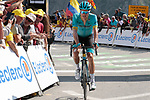 Jakob Fuglsang (DEN) Astana Pro Team crosses the finish line in 10th place atop the Col du Tourmalet at the end of Stage 14 of the 2019 Tour de France running 117.5km from Tarbes to Tourmalet Bareges, France. 20th July 2019.<br /> Picture: Colin Flockton | Cyclefile<br /> All photos usage must carry mandatory copyright credit (© Cyclefile | Colin Flockton)