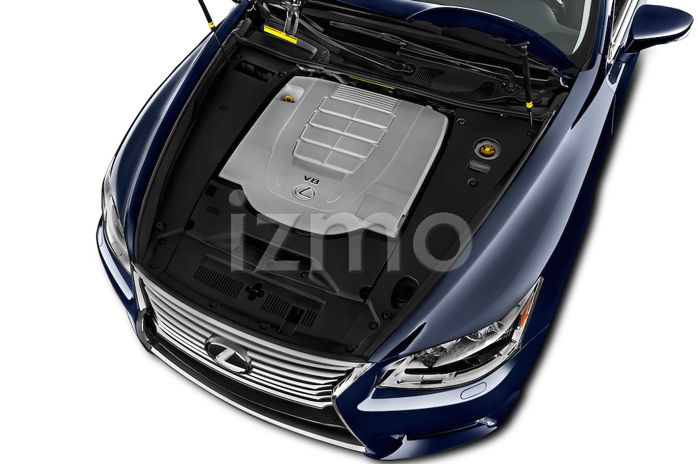 Car Stock 2016 Lexus LS L 4 Door Sedan 2WD Engine  high angle detail view