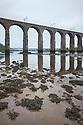 Estuarine mud exposed at low tide under the Royal Border Bridge on the River Tweed, Berwick upon Tweed, Northumberland, UK.