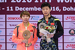 Yuling Zhu and Long Ma (r) celebrating the first position on the final match during the Seamaster Qatar 2016 ITTF World Tour Grand Finals at the Ali Bin Hamad Al Attiya Arena on 11 December 2016, in Doha, Qatar. Photo by Victor Fraile / Power Sport Images