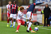 Arthur Read of Stevenage FC tackles  Antoni Sarcevic during Stevenage vs Bolton Wanderers, Sky Bet EFL League 2 Football at the Lamex Stadium on 21st November 2020