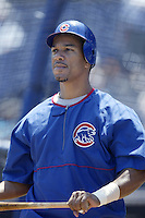Moises Alou of the Chicago Cubs before a 2002 MLB season game against the San Diego Padres at Qualcomm Stadium, in San Diego, California. (Larry Goren/Four Seam Images)