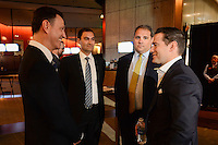 Santa Clara, CA - Tuesday, March 07, 2017: CONCACAF General Secretary, Philippe Moggio, Dave Kaval, CONCACAF President, Victor Montagliani, Al Guido during the unveiling of the CONCACAF 2017 Gold Cup Groups & Schedule at Levi's Stadium.