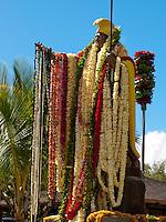 Leis on King Kamehameha stature, King Kamehameha Day Parade, North Kohala, Kapa'au town.