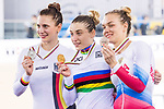 Daria Shmeleva of Russia celebrates winning in the Women's 500 TT Finals' prize ceremony with Miriam Welte (l) of Germany and Anastasiia Voinova (r) of Russia during the 2017 UCI Track Cycling World Championships on 15 April 2017, in Hong Kong Velodrome, Hong Kong, China.  Photo by Chris Wong / Power Sport Images