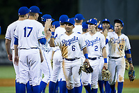 Jose Sanchez (6) of the Burlington Royals high fives his teammates after their win over the Danville Braves at Burlington Athletic Stadium on August 15, 2017 in Burlington, North Carolina.  The Royals defeated the Braves 6-2.  (Brian Westerholt/Four Seam Images)