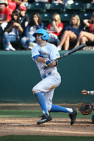 Ryan Kreidler (3) of the UCLA Bruins bats against the Arizona Wildcats at Jackie Robinson Stadium on March 19, 2017 in Los Angeles, California. UCLA defeated Arizona, 8-7. (Larry Goren/Four Seam Images)