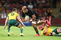7th November 2020, Brisbane, Australia; Tri Nations International rugby union, Australia versus New Zealand;  Akira Ioane  of The Allblacks in action