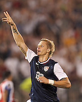 USMNT substitute midfielder Brek Shea (23) celebrates his goal, the only goal of the match. In CONCACAF Gold Cup Group Stage, the U.S. Men's National Team (USMNT) (blue/white) defeated Costa Rica (red/blue), 1-0, at Rentschler Field, East Hartford, CT on July 16, 2013.