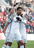 Calcio, Serie A: Sassuolo vs Juventus. Reggio Emilia, Mapei Stadium, 29 gennaio 2017. <br /> Juventus' Sami Khedira, center, celebrates with teammates Miralem Pjanic, left, and Paulo Dybala, after scoring during the Italian Serie A football match between Sassuolo and Juventus at Reggio Emilia's Mapei stadium, 29 January 2017.<br /> UPDATE IMAGES PRESS/Isabella Bonotto