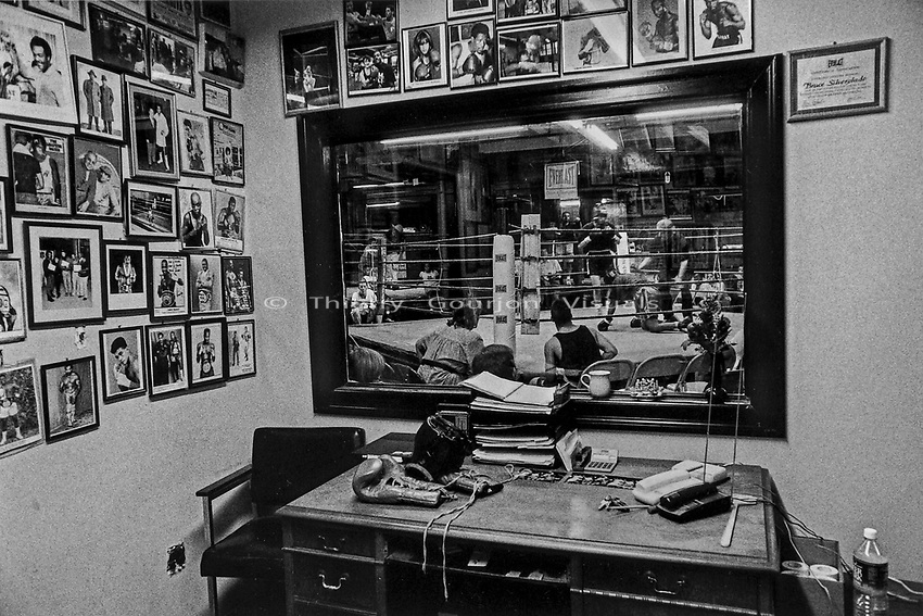 A view from the gym's office in 1997.<br />Gleason's Gym, Brooklyn, New York.<br />Photograph bt Thierry Gourjon-Bieltvedt.