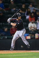 Chris Curley (13) of the Kannapolis Intimidators at bat against the Hickory Crawdads at L.P. Frans Stadium on April 23, 2015 in Hickory, North Carolina.  The Crawdads defeated the Intimidators 3-2 in 10 innings.  (Brian Westerholt/Four Seam Images)