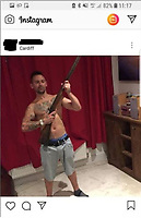 "Pictured: Jay Davison pictured on his instagram page holding a fake shotgun.<br /> Re: A man who posted violent messages about Muslims alongside photos of himself posing topless with a fake shotgun has been convicted of stirring up racial and religious hatred.<br /> The violent material was posted to 394 Instagram followers on 6 August last year and screenshots were shared on a WhatsApp group later that day. A member of the group became concerned and called the police.<br /> When Jay Davison, 38, was arrested a few days later he admitted posting the messages after an evening out drinking. Davison said he had no racist views and did not intend to incite racial hatred. He said that the photos were taken at a friend's house with an ornamental gun but he refused to name the friend.<br /> His comments urged people to 'stand up' and contained phrases associated with Nazism and white supremacy with reference to his hatred of Muslims and Islam.<br /> The prosecution told Cardiff Crown Court that although Davison regretted his actions now, at the time his intention was clearly to stir up hatred of Muslims. Being drunk was no excuse.<br /> Davison, from Cardiff, was found guilty of stirring up racial and religious hatred on Wednesday 28 August.<br /> Jenny Hopkins from the CPS said:<br /> ""The material Jay Davison posted was clearly threatening, abusive and insulting. His intention can only have been to stir up religious and racial hatred.<br /> ""His defence that he regretted his actions and was drunk was rejected by the jury.<br /> ""This is a warning to people that posting material online can have damaging consequences for them offline.""<br /> The case was handled by the Counter Terrorism Division in the CPS which prosecutes all incitement to racial and religious hatred cases in England and Wales.<br /> Davison will be sentenced at a later date."