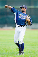 Andrew Toles (29) of the Princeton Rays warms up in the outfield prior to the game against the Burlington Royals at Hunnicutt Field on July 15, 2012 in Princeton, West Virginia.  The Royals defeated the Rays 2-0 in game one of a double header.  (Brian Westerholt/Four Seam Images)