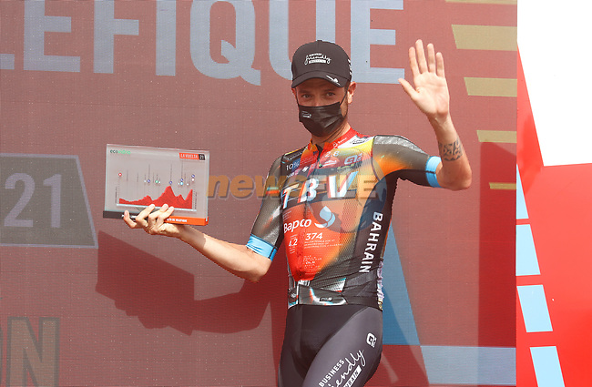 Damiano Caruso (ITA) Bahrain Victorious wins Stage 9 of La Vuelta d'Espana 2021, running 188km from Puerto Lumbreras to Alto de Velefique, Spain. 22nd August 2021.     <br /> Picture: Luis Angel Gomez/Photogomezsport | Cyclefile<br /> <br /> All photos usage must carry mandatory copyright credit (© Cyclefile | Luis Angel Gomez/Photogomezsport)