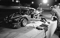 The #54 Porsche 911 Carrera RSR of Bruce Redding, H.J. Long, Bob Copeman, and Jerry Jolly makes a pit stop en route to a 53rd place finish in the SunBank 24 at Daytona, Daytona International Speedway, Daytona Beach, FL, Feb. 4-5, 1984. (Photo by Brian Cleary/www.bcpix.com)