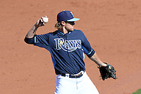 Tampa Bay Rays infielder Taylor Motter (10) during a spring training game against the Minnesota Twins on March 2, 2014 at Charlotte Sports Park in Port Charlotte, Florida.  Tampa Bay defeated Minnesota 6-3.  (Mike Janes/Four Seam Images)