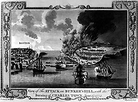 View of The Attack on Bunker's Hill, with the Burning of Charles Town, June 17, 1775.  Copy of engraving by Lodge after Millar, ca. 1775-80.  (George Washington Bicentennial Commision)<br /> NARA FILE #:  148-GW-448<br /> WAR & CONFLICT #:  15