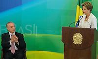 BRASILIA, DF, 02.10.2015 - DILMA-REFORMA -  A presidente Dilma Rousseff, durante declaração sobre a  reforma administrativa do<br /> Governo Federal, nesta sexta-feira, no <br /> Palácio do Planalto. A esquerda, o vice-presidente, Michel Temer.(Foto:Ed Ferreira / Brazil Photo Press)