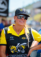 Jul 21, 2019; Morrison, CO, USA; NHRA top fuel driver Leah Pritchett during the Mile High Nationals at Bandimere Speedway. Mandatory Credit: Mark J. Rebilas-USA TODAY Sports