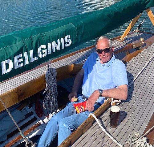 Father of the Class - Nick Massey on the restored Deilginis, with which he has been involved for fifty years. When he first took over ownership in 1971, she was hidden in a yard in Dolphin's Barn in Dublin, and covered in tar. Photo: Ian Malcolm
