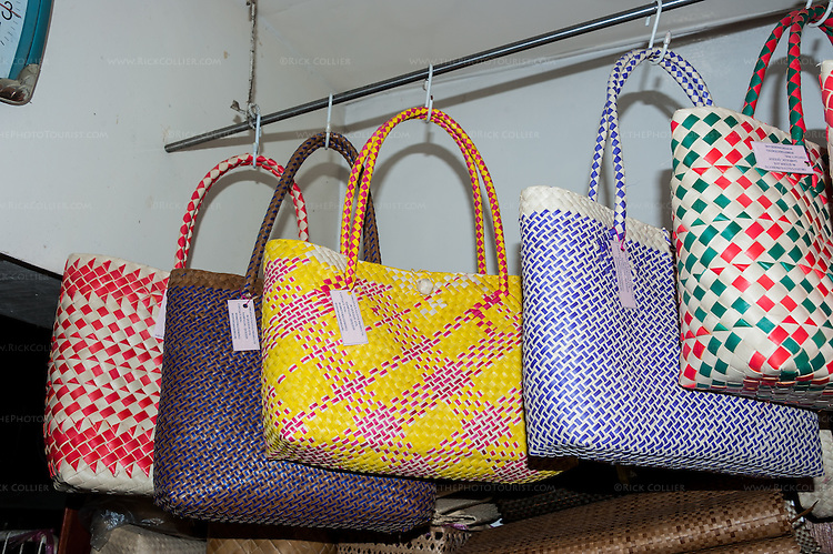 A variety of buri products are displayed in the front-room shop of Teming Oblena, chair-woman of the Sampaloc buri weaver's guild.