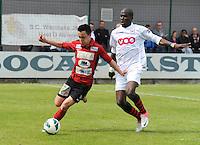Izegem - FC Luik :..Julien Jadot (L) ontzet voor Evans Kondogbia (R)..foto VDB / BART VANDENBROUCKE