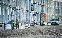 Aberystwyth, Wales, UK. Tuesday 09 February 2016<br />Pictured: Council workers clear debris from the coastal road.<br />Re: The clean up begins in Aberystwyth, west Wales after storm Imogen hit parts of the UK.