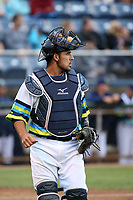 David Banuelos (48) of the Everett AquaSox during a game against the Boise Hawks at Everett Memorial Stadium on July 21, 2017 in Everett, Washington. Everett defeated Boise, 10-4. (Larry Goren/Four Seam Images)