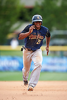 Scranton/Wilkes-Barre RailRiders left fielder Cesar Puello (21) running the bases during a game against the Buffalo Bisons on July 2, 2016 at Coca-Cola Field in Buffalo, New York.  Scranton defeated Buffalo 5-1.  (Mike Janes/Four Seam Images)