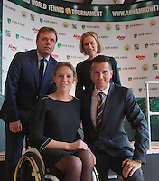 09-01-14, Netherlands, Rotterdam, TC Kralingen, ABNAMROWTT Press-conference, Richard Krajicek and Esther Vergeer tournament directors for the next three years, in the back Jolanda Jansen (Ahoy) and Ernst Broekhorst (ABNAMRO), who announced the continuation for 2015/17.<br /> Photo: Henk Koster