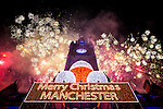 © Joel Goodman - 07973 332324 . 01/01/2016 . Manchester , UK . Thousands of people turn out in freezing temperatures to watch as Manchester celebrates the start of the New Year with a fireworks display in front of the Town Hall in Albert Square . Photo credit : Joel Goodman