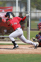 Boston Red Sox minor league third baseman Jose Iglesias (10) during a game vs. the Minnesota Twins in an Instructional League game at Lee County Sports Complex in Fort Myers, Florida;  October 1, 2010.  Photo By Mike Janes/Four Seam Images