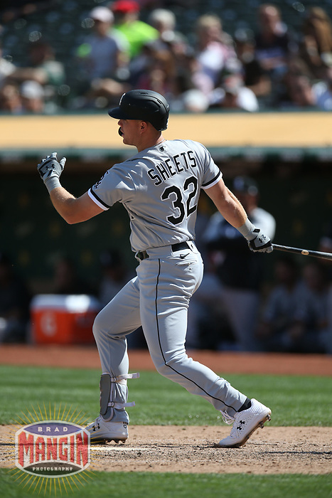 OAKLAND, CA - SEPTEMBER 9:  Gavin Sheets #32 of the Chicago White Sox bats against the Oakland Athletics during the game at the Oakland Coliseum on Thursday, September 9, 2021 in Oakland, California. (Photo by Brad Mangin)