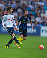 05.08.2016 Ullevaal Stadion, Oslo, Norway. Pre -Season Football Friendly Tottenham Hotspur  versus Inter Milan.  Ryan Mason of Tottenham Hotspur passes forward during the pre-season football friendly match between Tottenham Hotspur and Inter Milan at the Ullevaal Stadion in Oslo, Norway. ; Mason was made interim team manager for 2021 season after Spurs sacked Jose Mourinho. Mason retired from playing for Tottenham after suffering a fractured skull in a game in early 2017 at Hull.