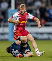 4th June 2021; AJ Bell Stadium, Salford, Lancashire, England; English Premiership Rugby, Sale Sharks versus Harlequins; Tyrone Green of Harlequins is tackled by Ben Curry of Sale Sharks